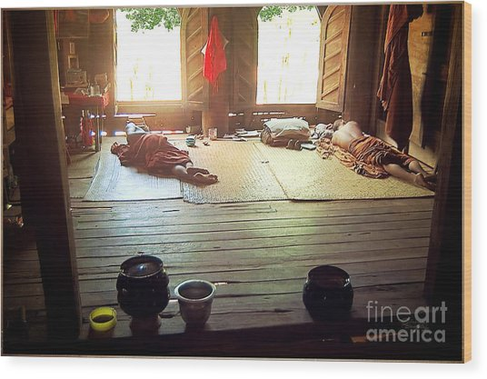 Buddhist Monastery Inside Wood Print