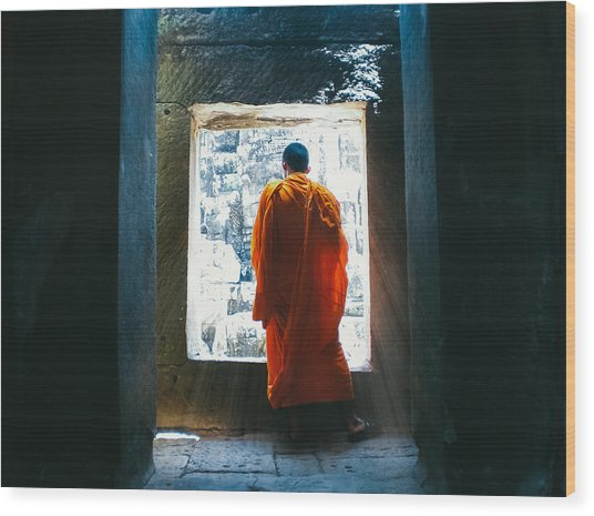 Buddhist Monk In Bayon Temple Angkor Wat Wood Print by Leander Nardin