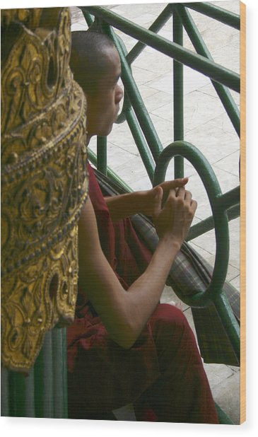 Buddhist Monk Leaning Against A Pillar Sule Pagoda Central Yangon Myanar Wood Print by PIXELS  XPOSED Ralph A Ledergerber Photography
