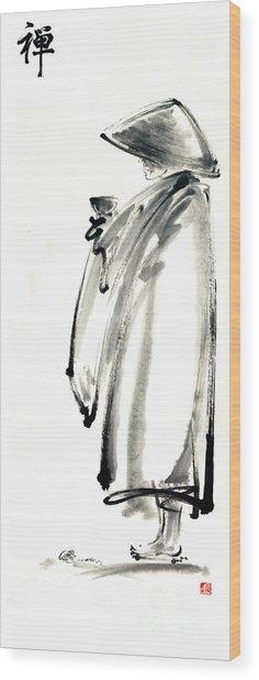 Buddhist Monk With A Bowl Zen Calligraphy Original Ink Painting Artwork Wood Print by Mariusz Szmerdt