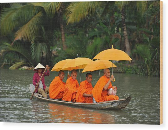 Buddhist Monks In Mekong River Wood Print