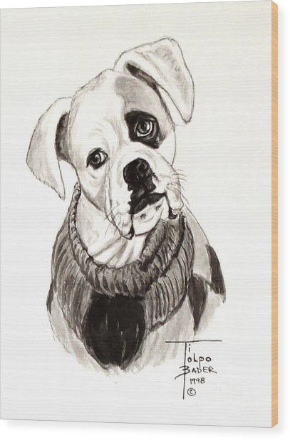 Buddy The Boxer Wood Print