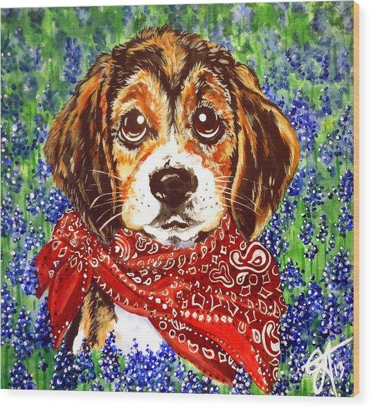 Buddy Dog Beagle Puppy Western Wildflowers Basset Hound  Wood Print