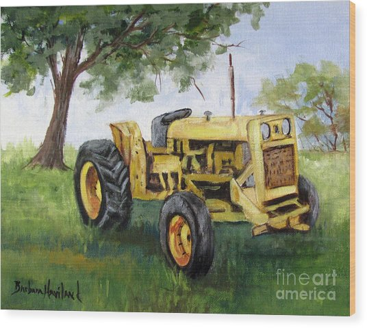 Bud's Yellow Tractor Wood Print