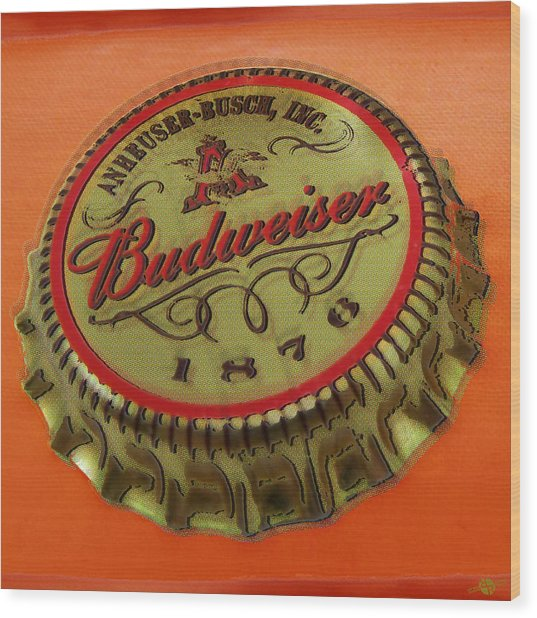 Budweiser Cap Wood Print