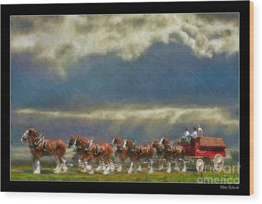 Budweiser Clydesdale Paint 2 Wood Print