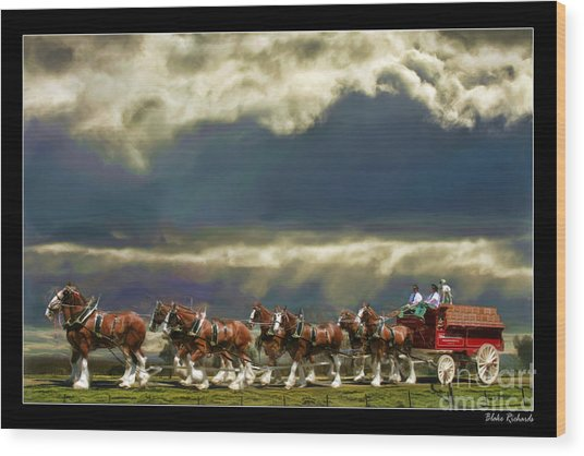 Budweiser Clydesdales Paint 1 Wood Print