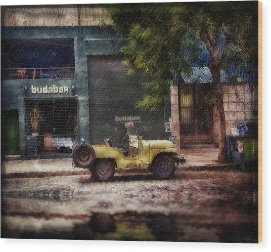 Buenos Aires Jeep Under The Rain Wood Print