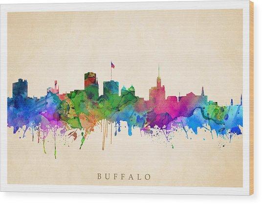 Buffalo Cityscape Wood Print