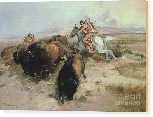 Buffalo Hunt Wood Print