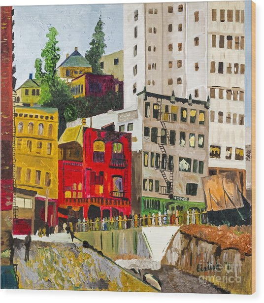 Building A City By Stan Bialick Wood Print by Sheldon Kralstein