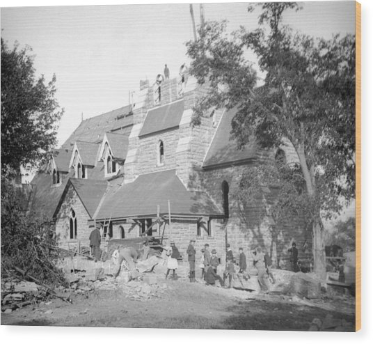 Building Church Wood Print