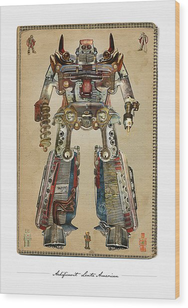 Built American Tough Robot No.2 Wood Print by Jeff Steed