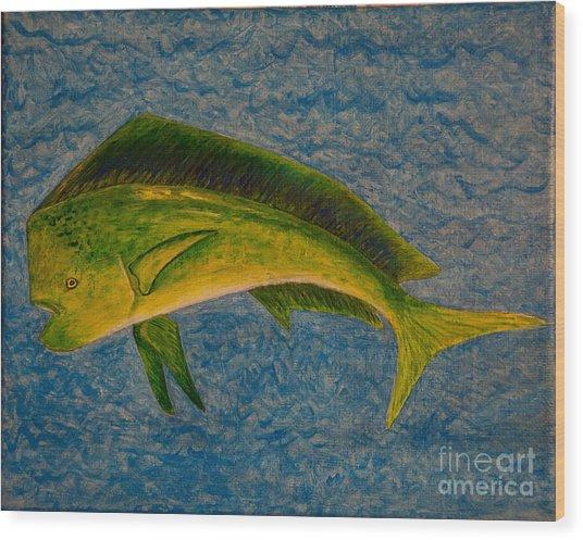 Bull Dolphin Mahimahi Fish Wood Print
