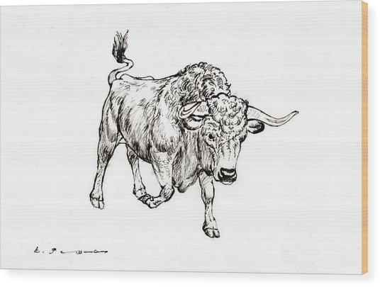 Bull Wood Print by Kurt Tessmann