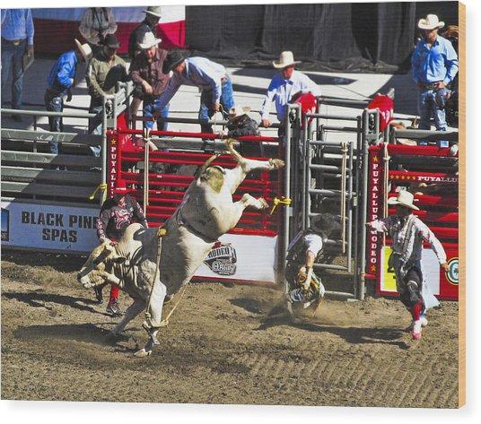 Bull Riding Wood Print by Ron Roberts