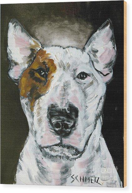 Bull Terrier Angel Wood Print by Jay  Schmetz