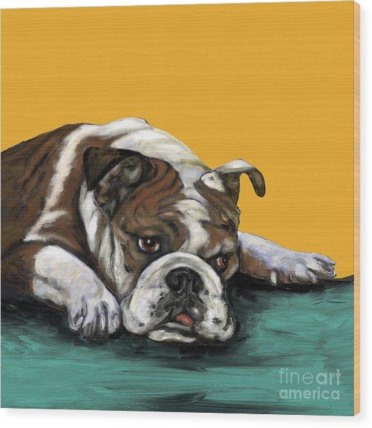Bulldog On Yellow Wood Print