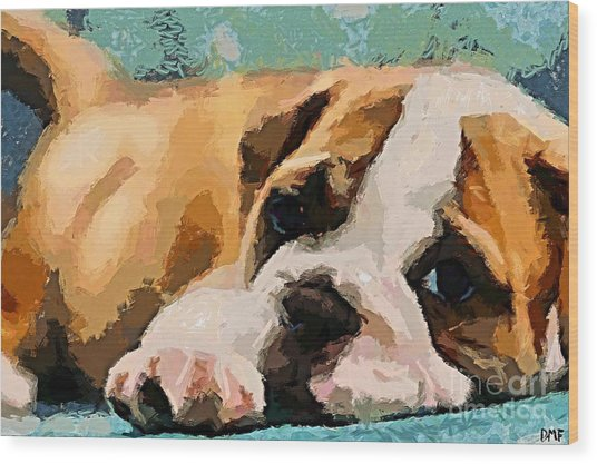 Bulldog Puppy Wood Print