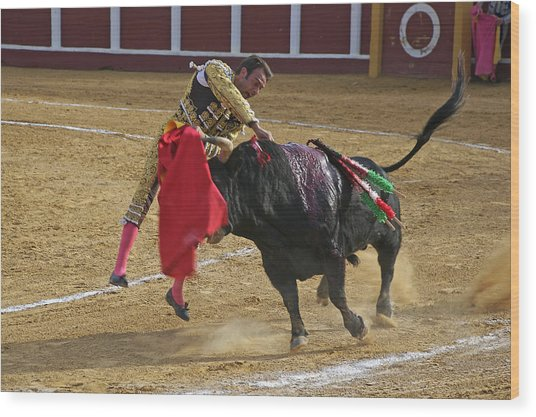 Bullfighter Manuel Ponce Performing The Estocada To Kill The Bull Wood Print