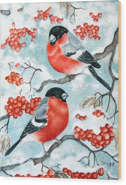 Bullfinch Couple Wood Print