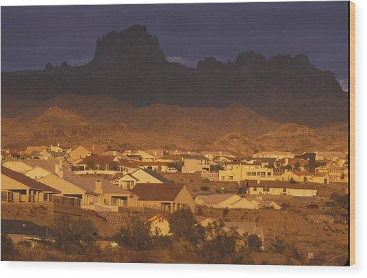 Bullhead City, Arizona In Sunset Wood Print