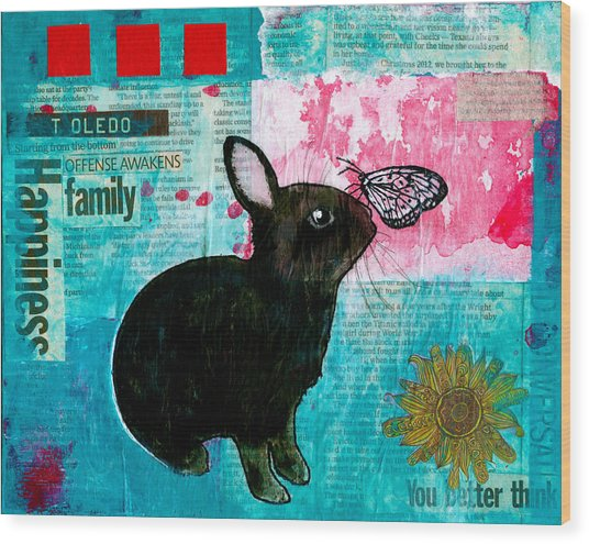 Bun And Butterfly Wood Print