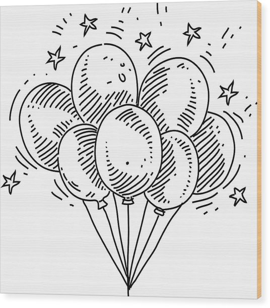 Bunch Of Balloons Drawing Wood Print by LEOcrafts