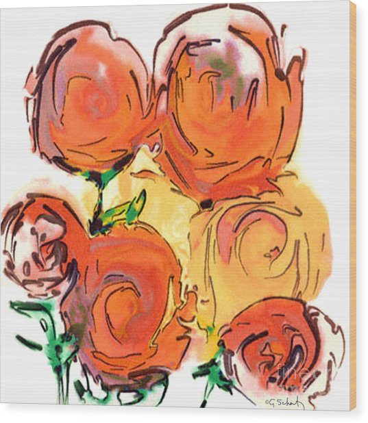 Bunch Of Roses Wood Print