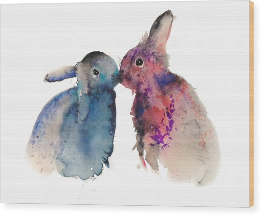 Bunnies In Love Wood Print