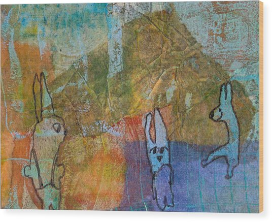 Bunny Ballet Wood Print