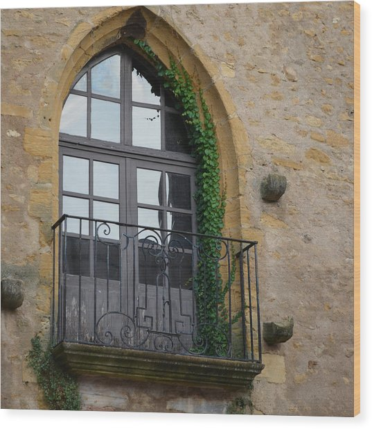 Burgundy Window Wood Print