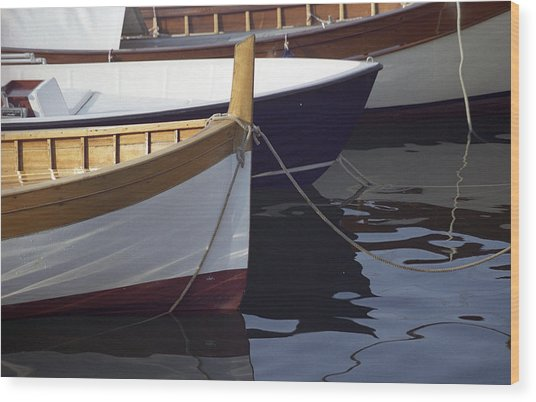 Burgundy Boat Wood Print