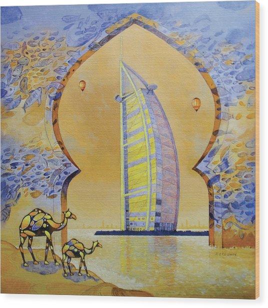 Burj Al Arab And Camels Wood Print