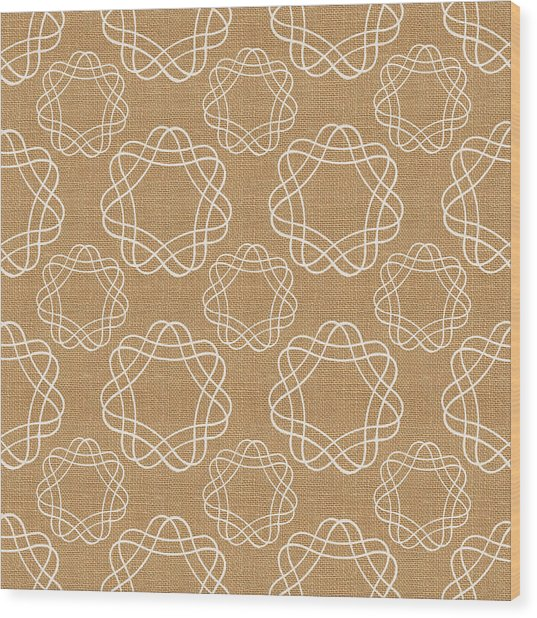 Burlap And White Geometric Flowers Wood Print