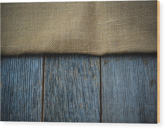 Burlap Texture On Wooden Table Background Wood Print