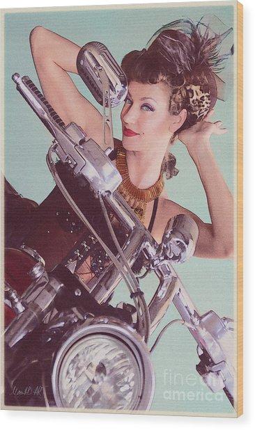 Burlesque Biker -portrait Wood Print
