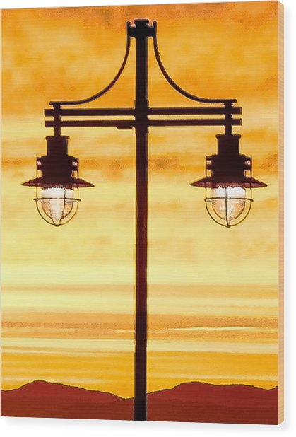 Burlington Dock Lights Wood Print