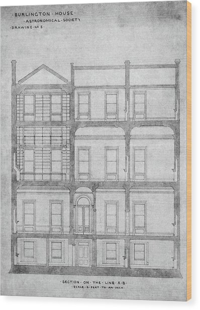 Burlington House Architectural Plans Wood Print by Royal Astronomical Society/science Photo Library