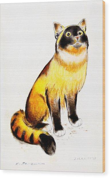 Burmese Cat Wood Print by Kurt Tessmann