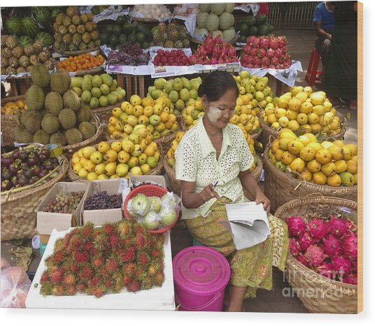 Burmese Lady Selling Colourful Fresh Fruit Zay Cho Street Market 27th Street Mandalay Burma Wood Print