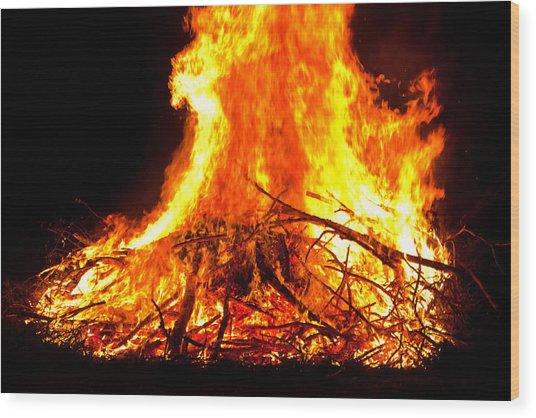 Burning Branches Wood Print by Claus Siebenhaar