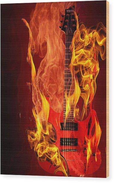 Burning Guitar Wood Print By Deepali Varshney