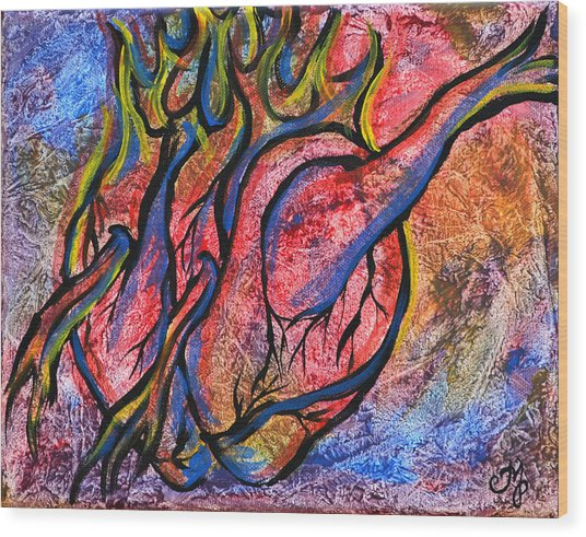 Burning Hearts Wood Print