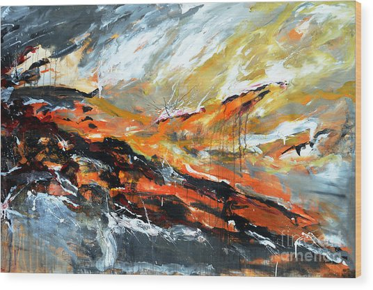 Burning Sky- Abstract Wood Print by Ismeta Gruenwald