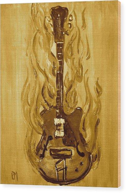 Burning Vintage Guitar Wood Print