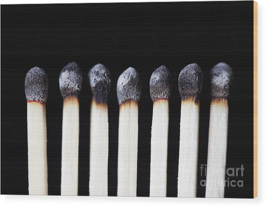 Burnt Matches On Black Wood Print
