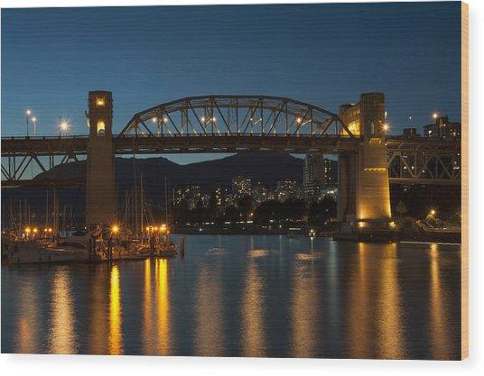 Burrard Bridge In The Evening Wood Print