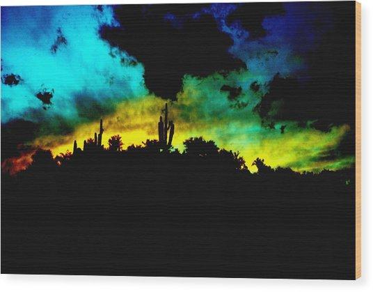 Burro Sunset Abstract Wood Print by Alfredo Martinez