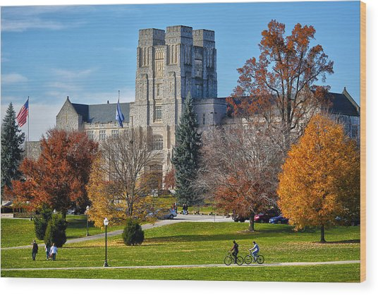 Burruss Hall Wood Print